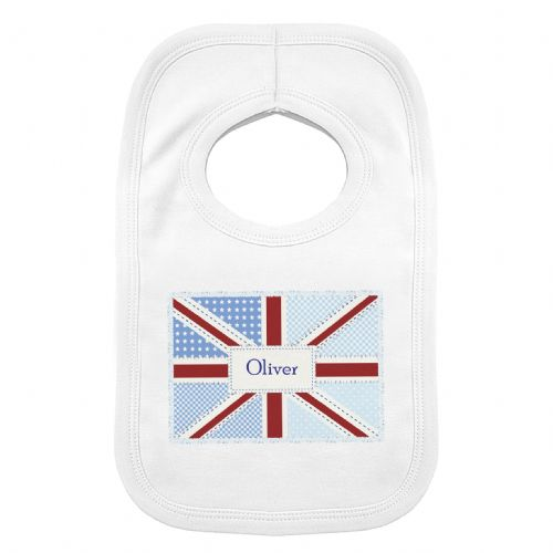 Personalised Patchwork Union Jack 0-3 Months Baby Bib